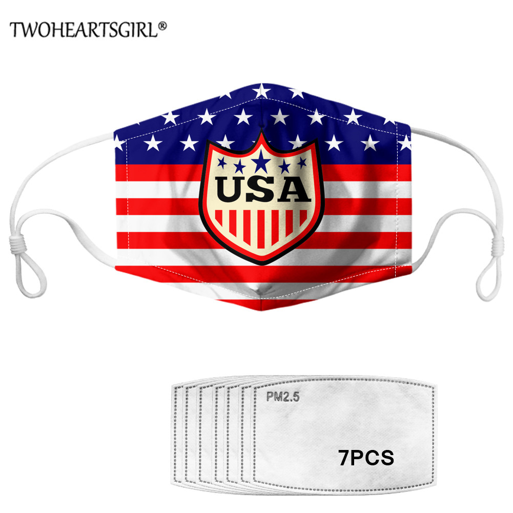 TWOHEARTSGIRL American Flag Printed Women Kids Mouth Mask With 7pcs Filters Elastic Dustproof Washable Adults Face Mask