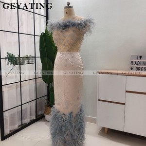 Image 4 - Teal 3D çiçek tüy arapça abiye giyim Mermaid kapalı omuz ayak bileği uzunluğu yarı resmi elbiseler 2021 zarif Dubai balo elbise