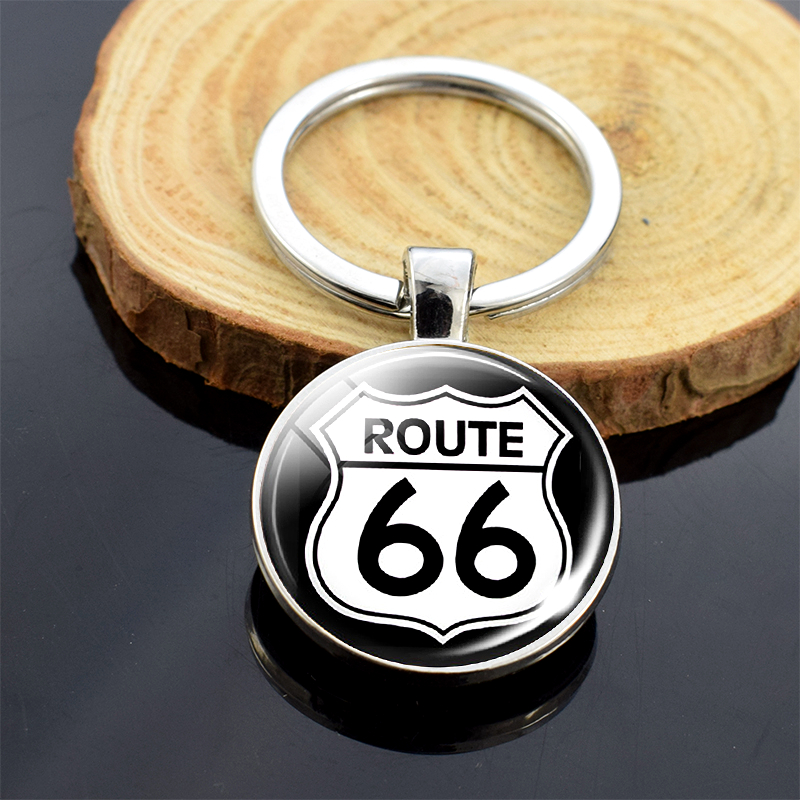 Route 66 Sign Keychain Route 66 Jewelry Travel Gifts Car Key Chain Key Rings Double Side Key Chain Pendant Accessories Decor