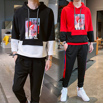 mens autumn patchwork hoodies pants 2 piece set gym joggers sweatsuits casual outdoor sports running tracksuits sweatpants men