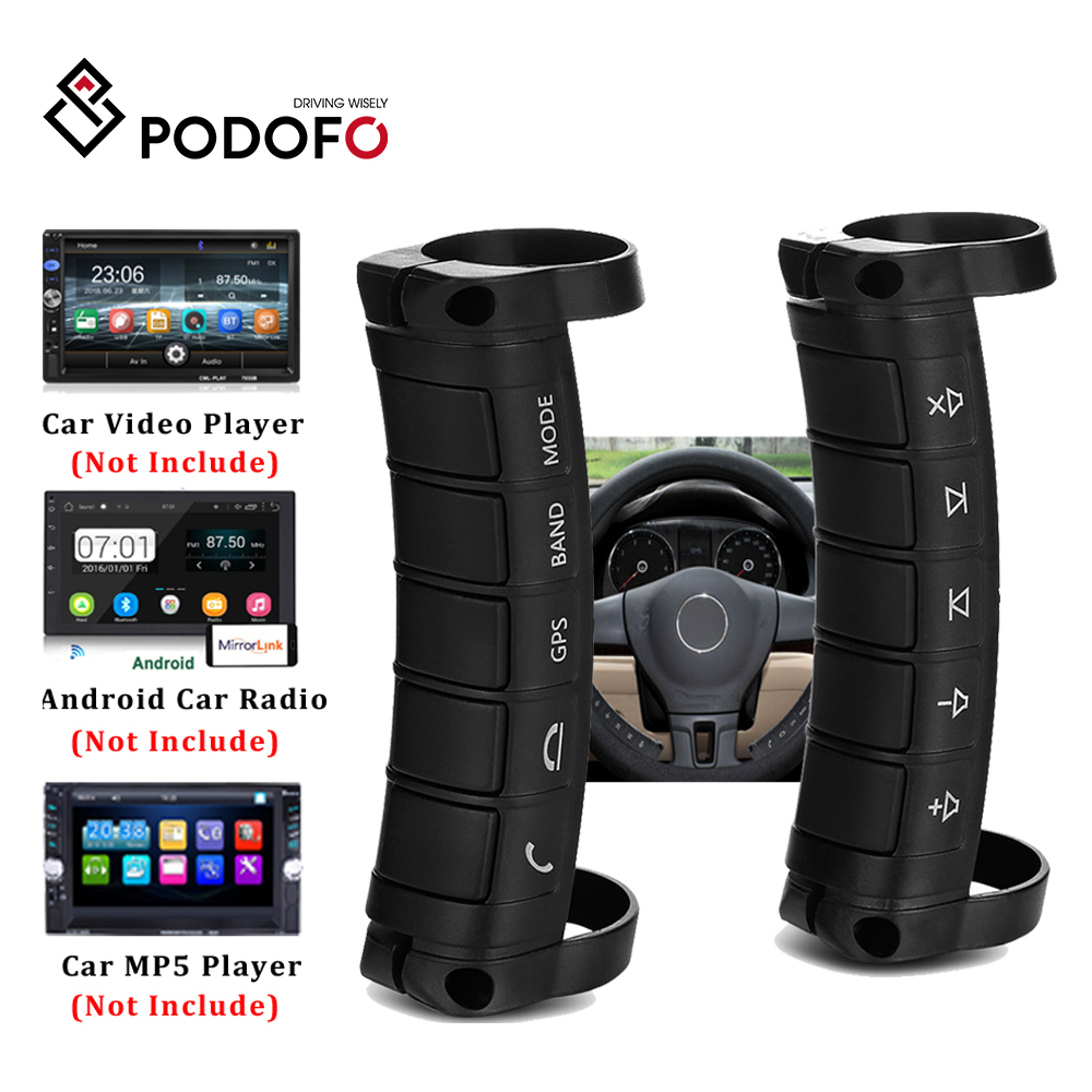 Podofo Car Steering Wheel Control DVD 2din Android Window Bluetooth Button Universal Wireless Steering Wheel Remote Control