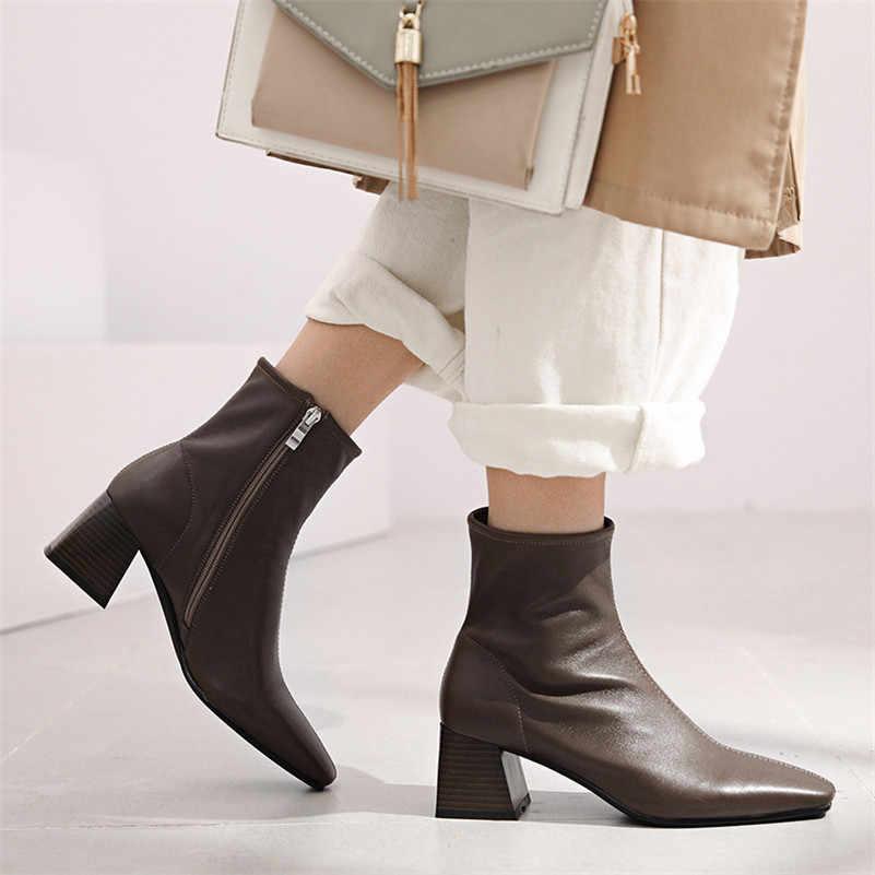 Meotina automne en peau de mouton bottines femmes naturel en cuir véritable bloc à talons hauts bottes courtes Zip bout carré chaussures dame hiver