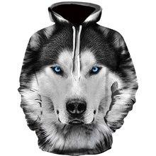 Sudadera con capucha para hombre, de moda, 3D, Lobo estampado, holgada, ropa de calle, divertida, de marca, novedad, otoño