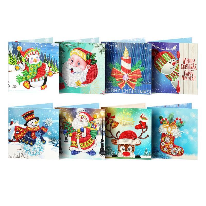 8pcs 5D DIY Diamond Painting Greeting Card Special Shaped Diamond Embroidery Christmas Cards Postcards Birthday Xmas Gift