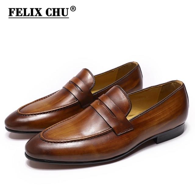 FELIX CHUผู้ชายPenny Loafersรองเท้าหนังของแท้หนังElegant Wedding PARTY Casualรองเท้าบุรุษสีน้ำตาลมือวาดรองเท้า