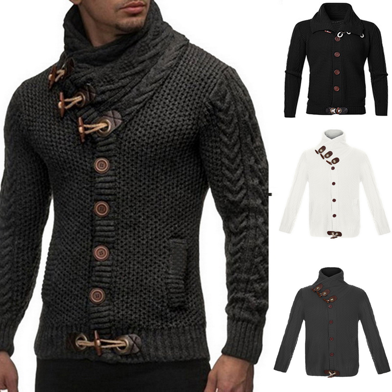 Winter Sweater Men Vintage Cardigan Sweater Coat Pull Homme Solid Sweaters Casual Warm Knitting Jumper Sweater Button Pullovers