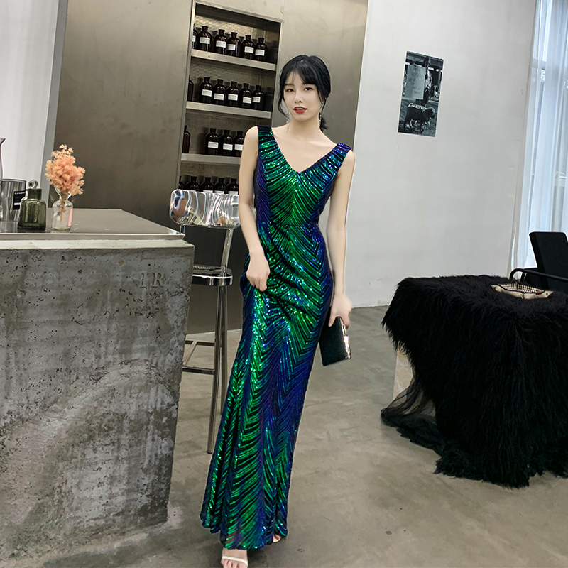 AE622 Green Evening Dresses V-Neck Mermaid Sequined Formal Dresses Women Elegant Party Gowns 2020 Robe De Soiree