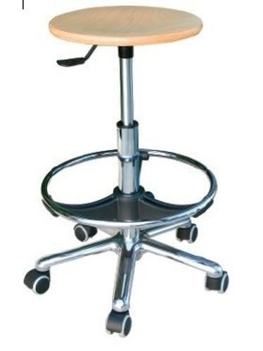 Stool WORK 13, Chrome, Gas, Wooden Seat