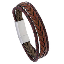 Vintage Multilayer Brown Leather Braid Bracelet Bangle For Men Stainless Magnetic Buckle Punk Wristband Cuff Jewelry Gift gorgeous multilayer knitted braid alloy cuff bracelet for women