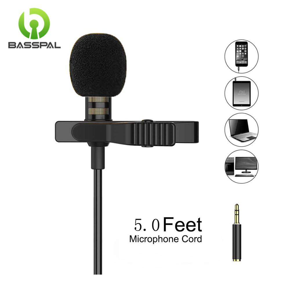 3.5mm hands-free mic microphone clip on lavalier lapel for pc laptop black*N HK