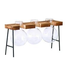 Nordic Hydroponics Vase Planter Bulb With Holder Hydroponic Plant Transparent Wooden Frame Coffee Shop Garden Decor