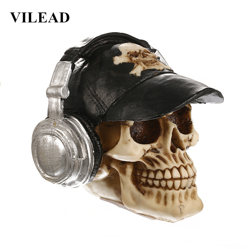 VILEAD Headset Skull Statue Halloween Decoration Resin Crafts Animal Skull  Props Bar Counter Home Decoration Sculpture Gifts