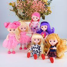 15cm Send clothes and shoes randomly Girls Dress Up Dolls 13 Joint BJD Doll Toys with 3D Eyeball Baby for Girl