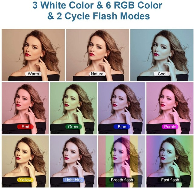 """10"""" RGB Selfie LED Ring Light 26 Colors Mode With 1.6m Tripod Stand Phone Holder For Live Stream/MakeUp/YouTube/TikTok Ringlight 2"""