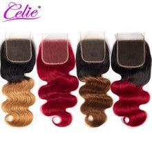 Perruque Lace Closure Body Wave brésilienne-Celie Hair, cheveux naturels Remy, rouge 1B 27 30, 4x4, Swiss Lace, 10 -20 pouces, partie libre