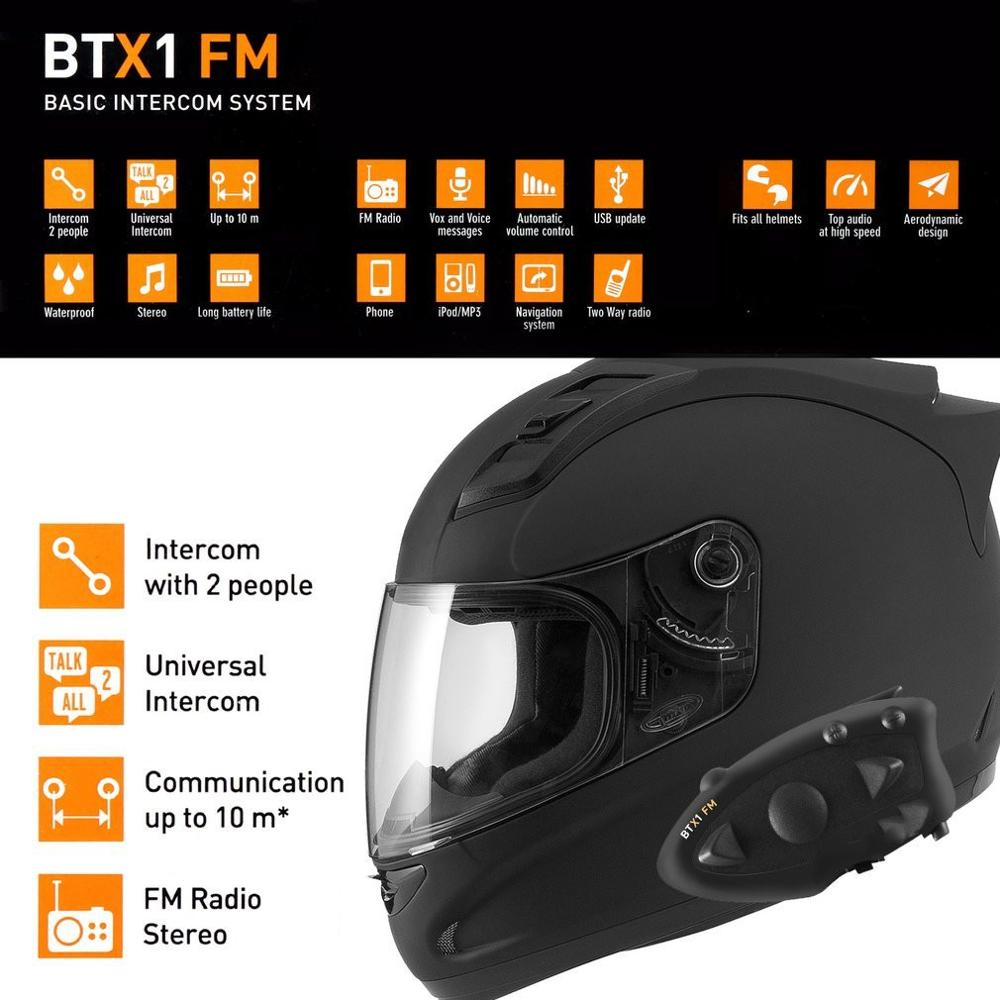 Black Durable MIDLAND BTX1 Motorcycle Helmet Headset Intercom Hands free Interphone FM Rider to Passanger Intercom|Helmet Headsets| |  - title=
