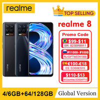 "realme 8 RMX3085 6.4""FHD+ AMOLED 4GB 64GB 64MP AI Quad Camera Helio G95 Octa Core 5000mAh 30W Dart Charge NFC Mobile Phone 1"