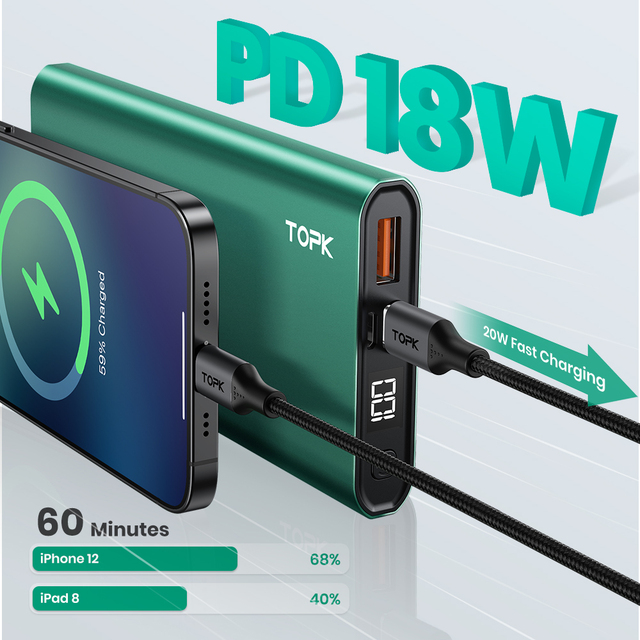 TOPK Power Bank 10000mAh Portable Charger LED External Battery PowerBank PD Two-way Fast Charging PoverBank for iPhone Xiaomi mi 2