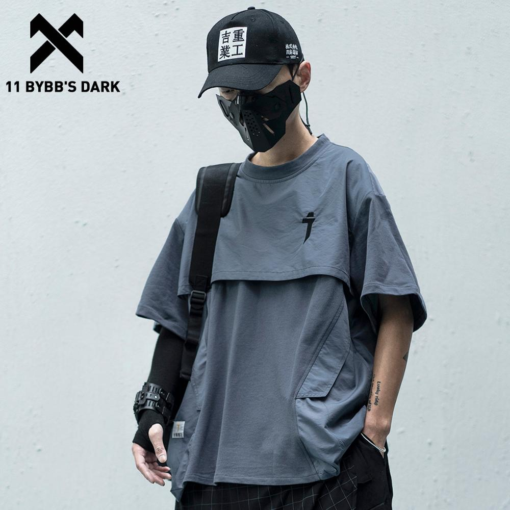 11 BYBB'S DARK Patchwork Hip Hop Streetwear T Shirts Men/Women 2020SS Fake Two Pieces Japanese Short Sleeve Shirts Tops Tees