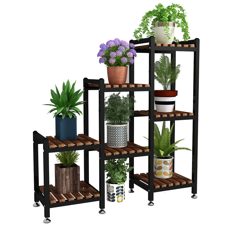 Airs Indoor Multi-storey A Living Room Partition Solid Wood Balcony Flower Rack Storey Height Adjust Iron Art Botany Frame