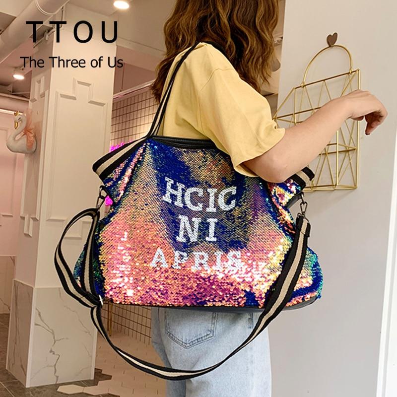 Bolsa de Ombro Ttou Feminina Lantejoulas Moda Handags Feminino Grande Capacidade Superior-alça Bolsas Apliques Senhora Casual Tote Bags Carta Sac