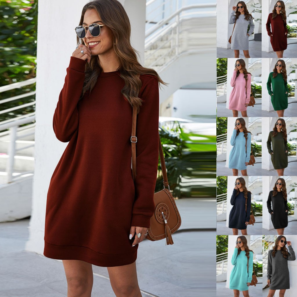 Basic Long Hoodies Sweatshirts Dress Round Neck Pull Fall Autumn Dress Adies Work Wear Sudaderas Mujer 2020 Dresses