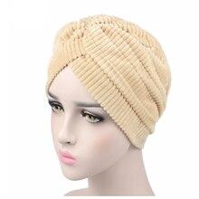 2020 nowych moda kobiet koral polar aksamitna plisowana Turban pałąk Chemo nakrycia głowy muzułmański hidżab Turbante kapelusz