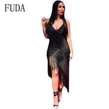 FUDA New Women Summer Tassel Dress Elegant Club Party Sexy Off Shoulder Sleeveless Spaghetti Strap Irregular Fringe