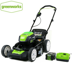 Greenworks 80V Беспроводная бесщеточная газонокосилка стальная колода 21 дюйм 3-в-1 мульча, собирает мешок, и боковая разрядка С батареей 5.0ah