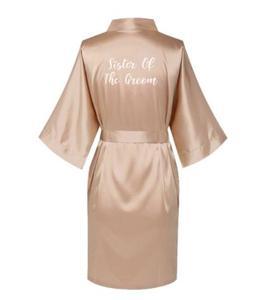 Image 4 - Satin Silk Robes Plus Size Wedding BathRobe Bride Bridesmaid Dress Gown Women Clothing Sleepwear Maid of Honor Rose Gold