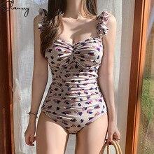 Nuevo traje de baño de una pieza para mujer traje de baño Vintage estampado Retro acolchado para playa trajes de baño estilo coreano