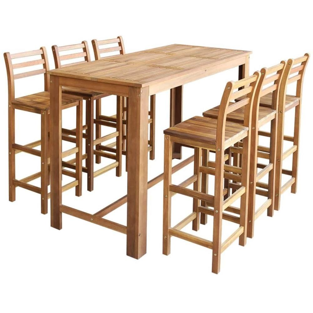 【USA Warehouse】Bar Table And Chair Set 7 Pieces Solid Acacia Wood