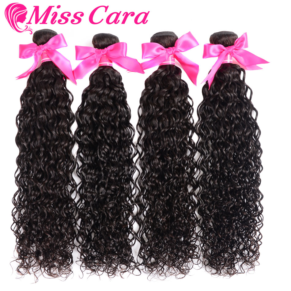 1/3/4 Bundles Water Wave Peruvian Hair Weave Bundles 100% Human Hair Extensions Natural Black Color Miss Cara Remy Human Hair