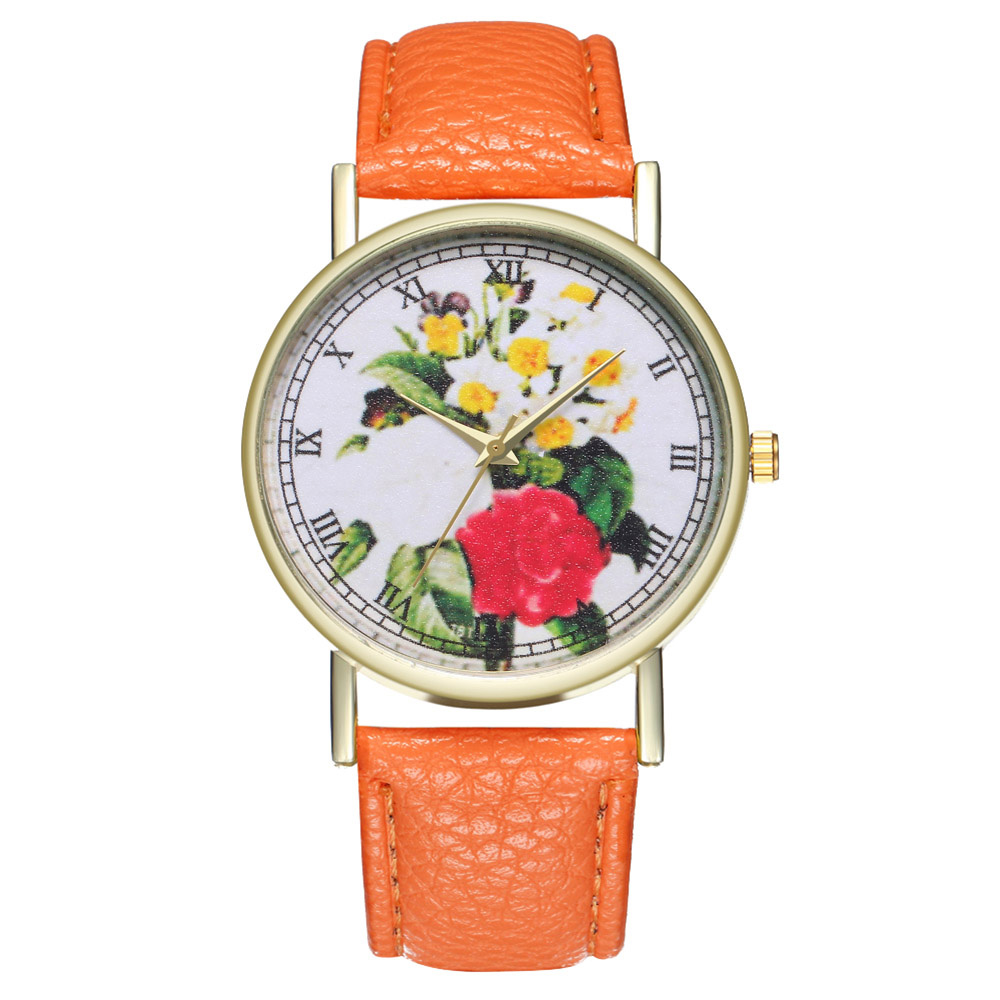 Casual Watches Leather Strap Flower Printed Round Dial Watches Fashion Quartz Watches Men Women Students Couple LXH