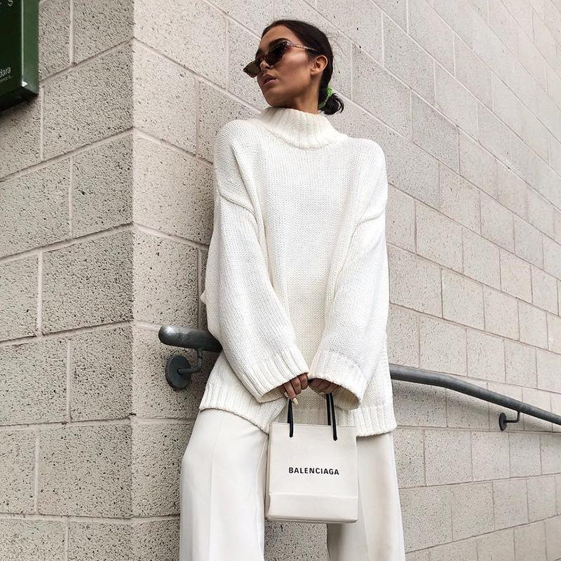 Autumn Winter 2019 Knitwear Pullover Sweater Women White Oversized Jumper Fashion Casual Turtleneck Basic Sweaters 14