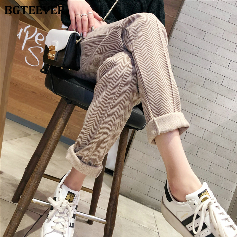 BGTEEVER Autumn Winter Thicken Pants Women Elastic Waist Striped Woolen Female Pencil Pant 2019 Elegant Warm Long Trousers Femme