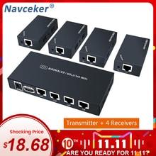 Extensor divisor HDMI de gran calidad, 200 pies, 1x4, 60m sobre UTP, RJ45, Cat5e, Cat6, Cable compatible con HD 1080P, 1 transmisor a 4 receptores