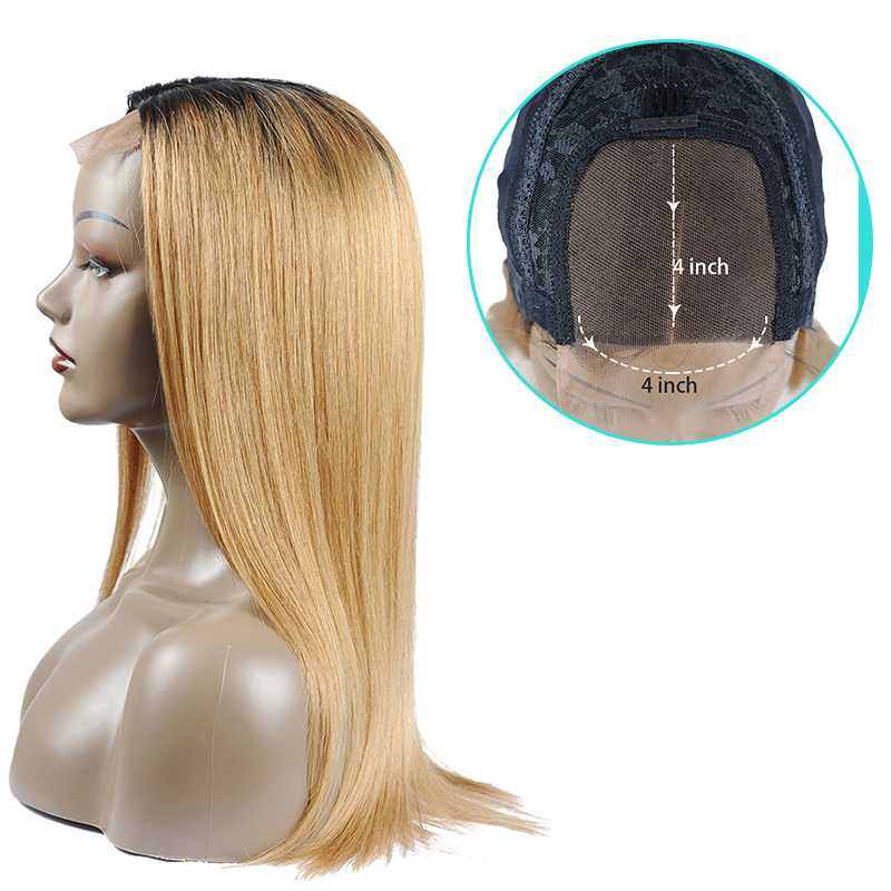 Kissmee Blonde Ombre Human Hair Wig Color T1B /27 Remy  Blonde Straight Lace Closure Wig 4*4 Long Brazilian Lace Wigs For Women