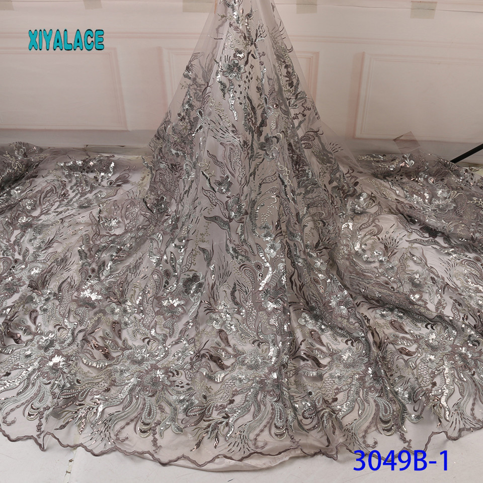 Luxury Sequins African Mesh Lace Fabrics 2019 High Quality Nigerian French Tulle Lace For Evening Dresses YA3049-1