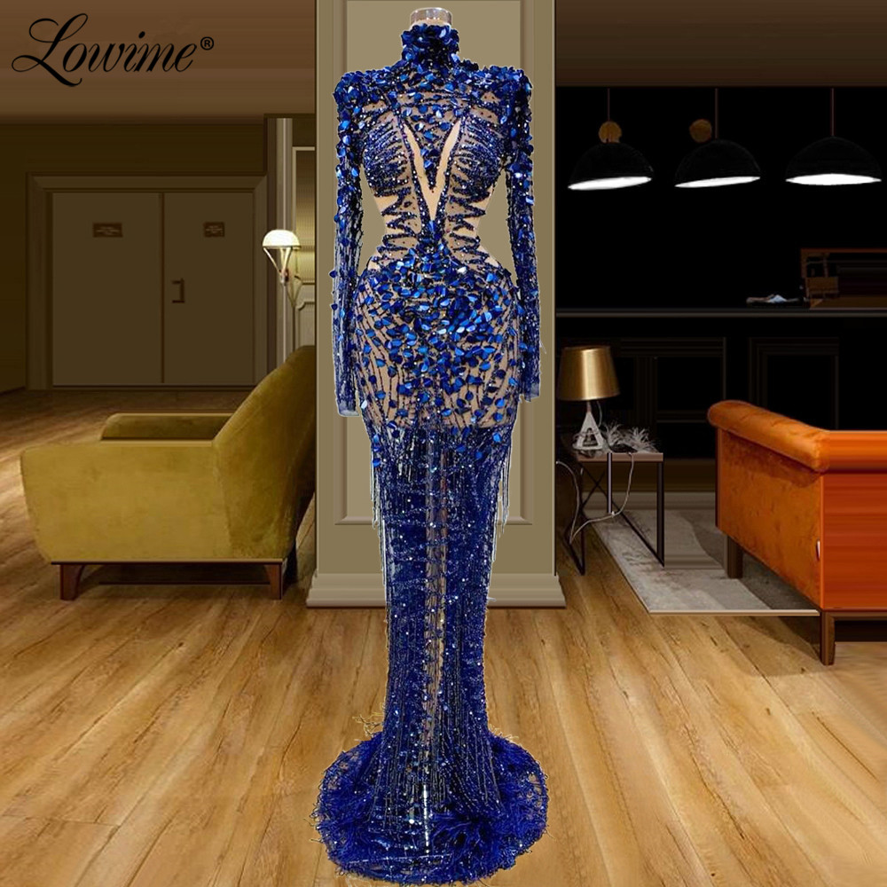 Royal Blue Illusion Evening Dresses Sexy Celebrity Party Dress 2020  Saudi Arabia Dubai Beaded Sequins Abiye Prom Dress Long