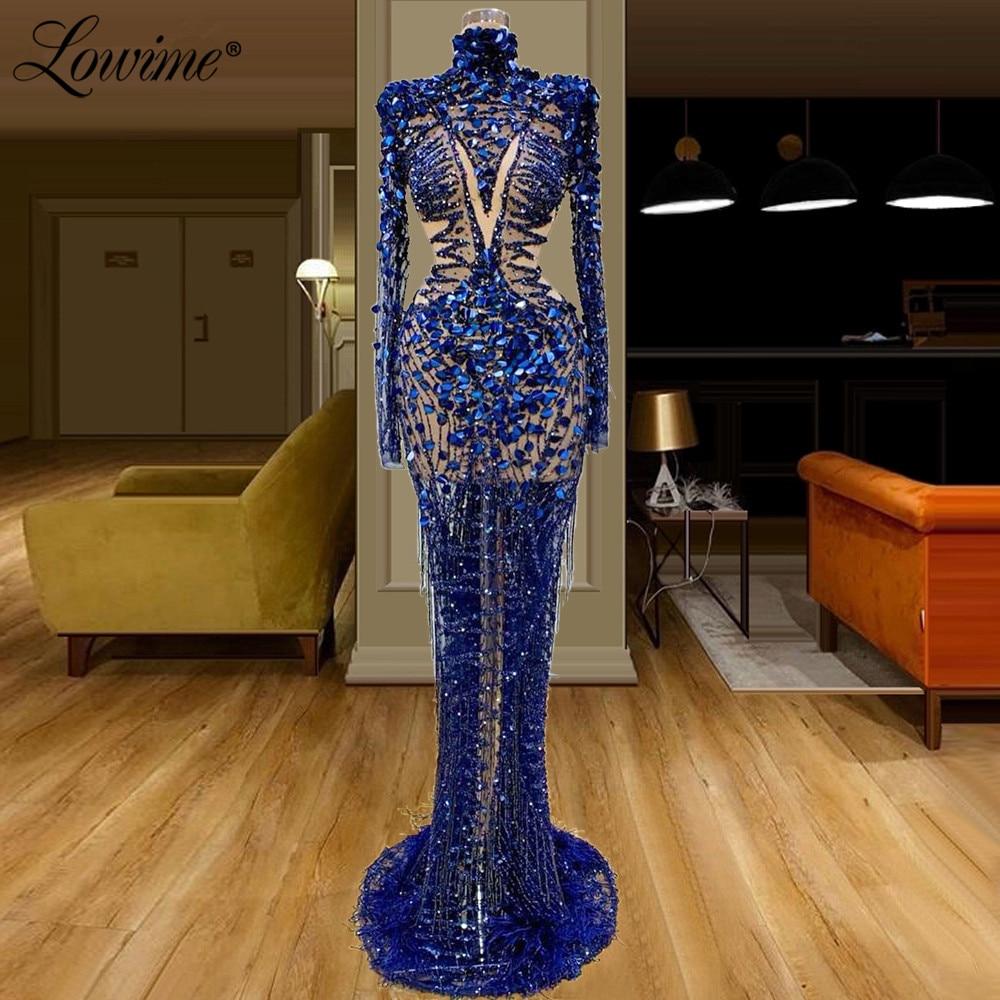Royal Blue Illusion Evening Dresses Sexy Celebrity Party Dress 2020  Saudi Arabia Dubai Beaded Sequins Abiye Prom Dress Long