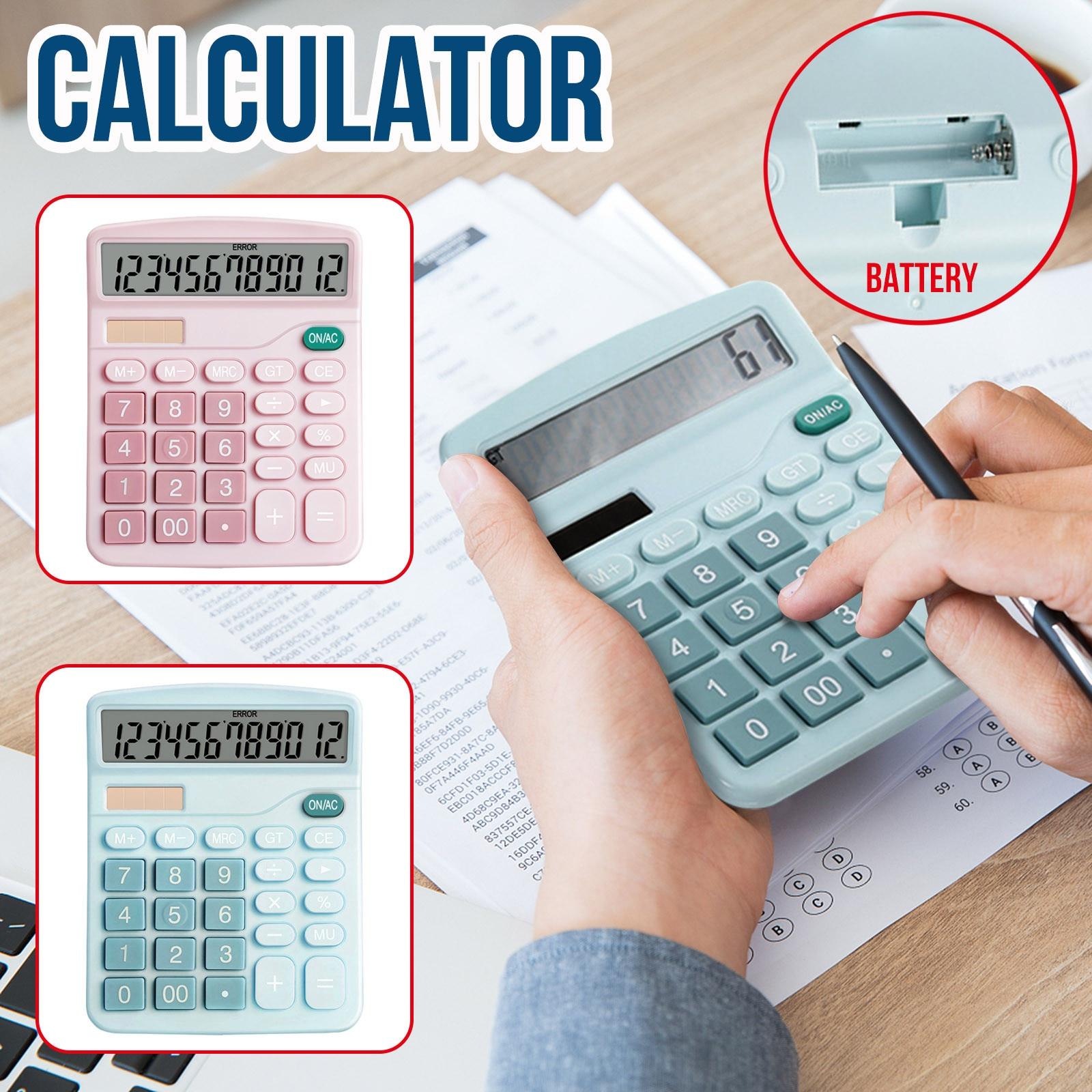 Цвет калькулятор 12 цифр дисплей финансовых офисного батарея солнечная двойной мощность ЖК-дисплей дисплей для рабочего базовый калькулято...