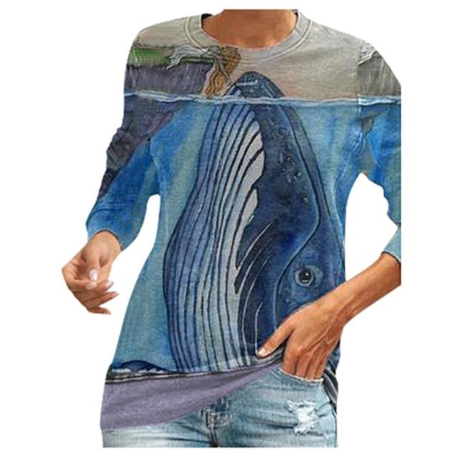 Blouse Women 2020 Women O Neck Fun Pattern Printed Long-sleeved Blouse Harajuku Shirt ropa de mujer блузка женская 2020 3