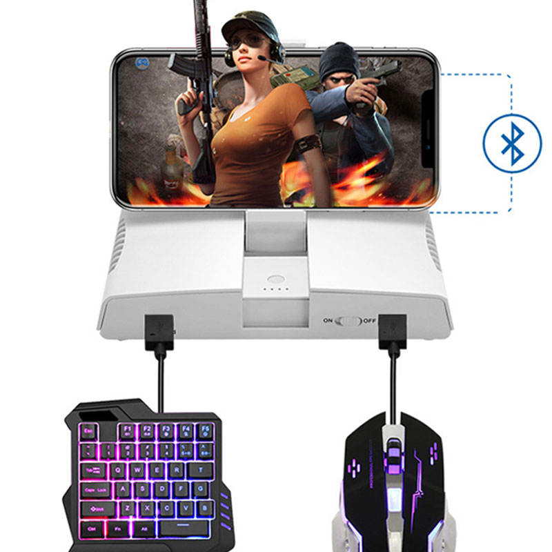 Bluetooth Gameing Keyboard Mouse Converter For Ipad Iphone Android Smart Phone PUBG Mobile Gamepad Adapter With Phone Holder