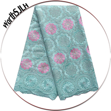 WorthSJLH New Big Swiss Voile Lace In Switzerland Aqua Gold Dry Cotton Material Latest African Fabric 2019 For Women