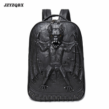 3D Stereoscopic Bat Backpack Black Vampire mochila Personality Rivets mochilas Mens Vintage Luxury Travel sırt çantası