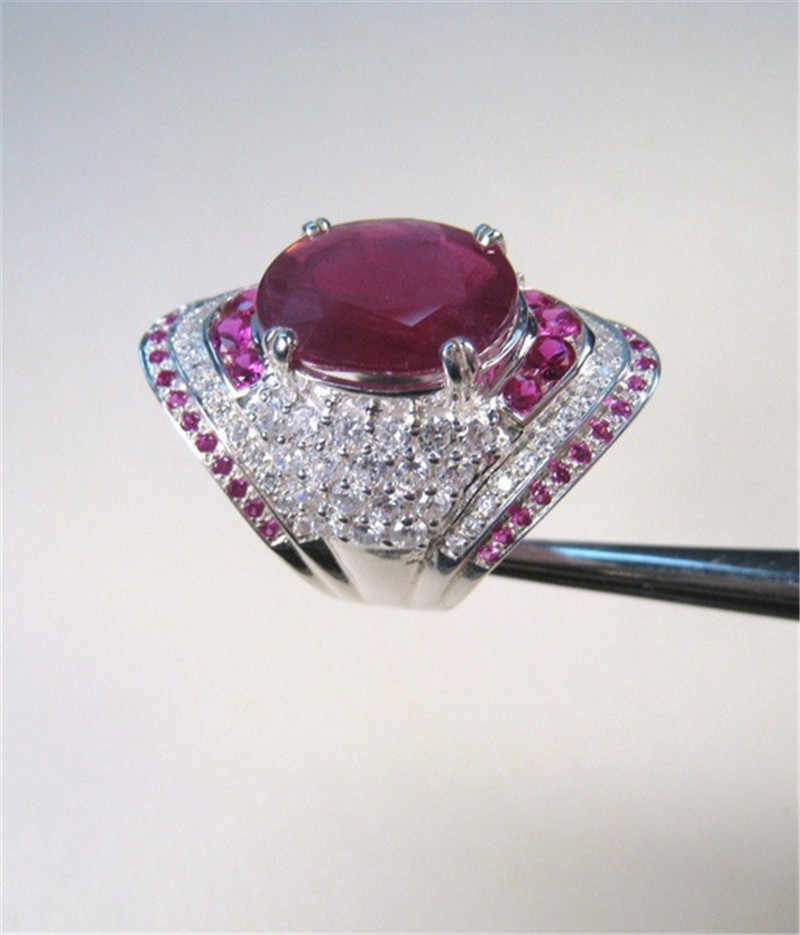 หญิงใหญ่สีแดงแหวน 925 เงินแท้ Cz แหวน Vintage งานแต่งงานแหวน