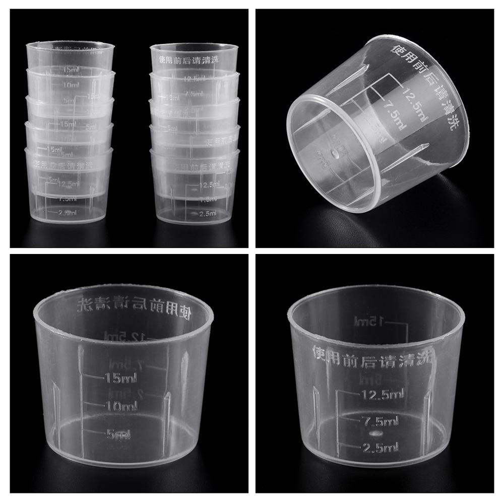 10Pcs 15ml Clear Plastic Measuring Cup Graduated Measure Beaker Measuring Medicine Cups For Lab
