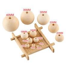 Bolas de madeira natural contas 4-35mm espaçador redondo encantos de madeira diy artesanato de madeira artesanal bolas de jóias do bebê perle en bois
