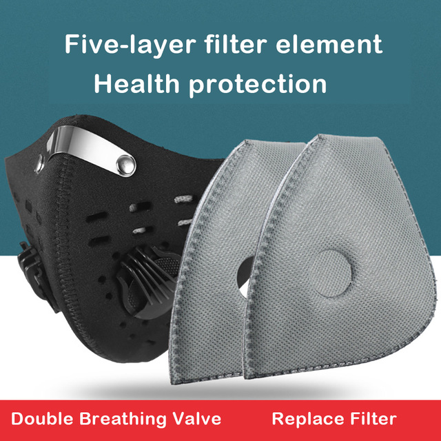2 pcs PM2.5 black mouth mask dustproof activated carbon filter windproof bacteria-proof flu-proof face masks care